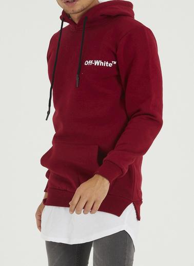 XHAN Bordo Sırtı Garnili Etek Ucu Penye Detaylı Sweatshirt 1Kxe8-44363-05 Bordo